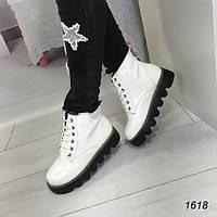 Демисезонные женские ботинки на шнурках белые АВ-1618