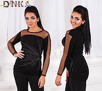 Туника женская черная с рукавами сетка