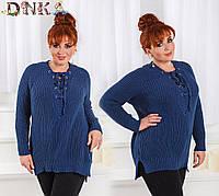 Женский свитер крупной вязки со шнуровкой (3 цвета)
