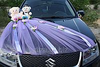 Украшение свадебного автомобиля - мишки и фата на капот