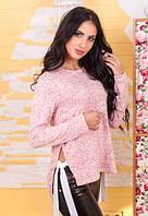 Женская кофта розовый меланж с завязками по бокам