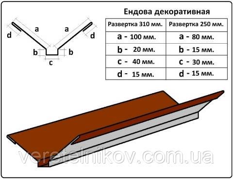 Ендова декоративная - 310 мм (2 м)