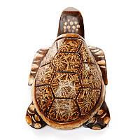 Деревянная статуэтка черепаха  средняя темная Рептилия