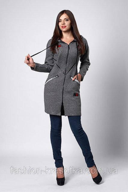 Женский   кардиган  из пальтовой ткани с нашивками серый  46 48 50