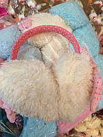 Меховые наушники, ушки, разные цвета, Бантик
