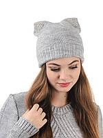 Вязаная женская шапка с ушами H30S
