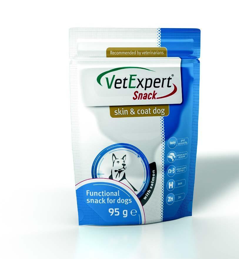 "VetExpert (Вет Експерт)  Snack Skin & Coat Dog 95г - лакомство для собак с лососем ""Красота кожи и шерсти"""