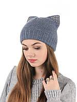 Вязаная женская шапка с ушами H30ST