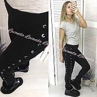 Женские плотные штаны на флисе со шнуровкой