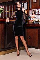 Женское бархатное платье с рукавами из сеточки (черное)  Love KAN № 0206