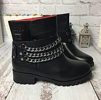 """Зимние женские ботинки """"Гермес"""" с цепочкой эко кожа"""