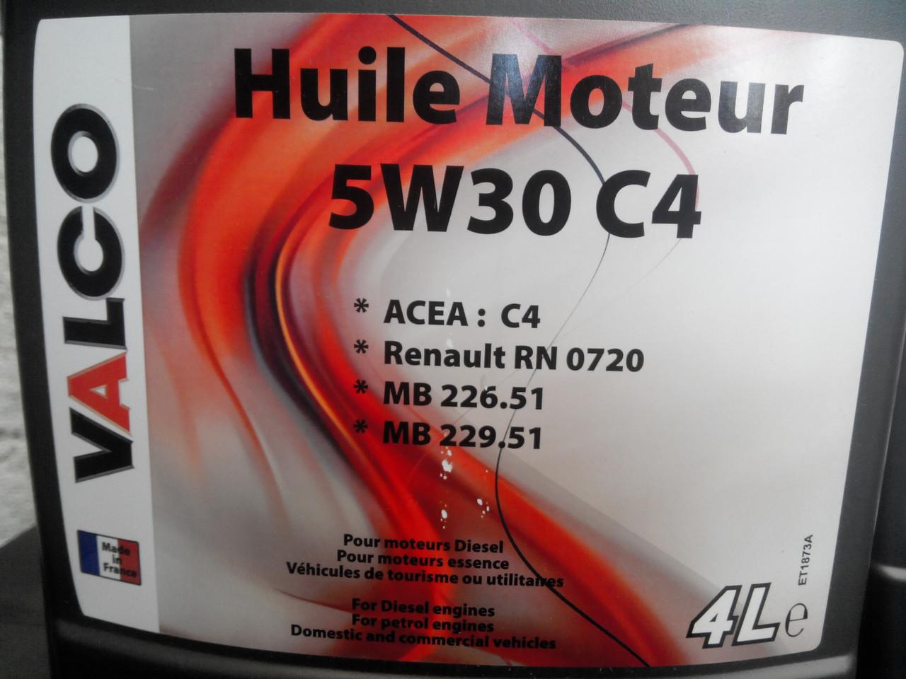Синтетическое моторное масло Valco Huile Moteur 5w-30 C4