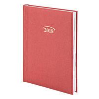 Ежедневник, А5, датированный, 2018 год, Denim, красный, Brunnen, 737956520
