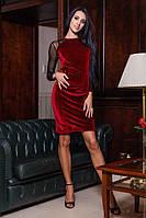 Женское бархатное платье с рукавами из сеточки (красное)  Love KAN № 0206