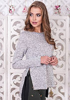 Женская кофта серый меланж с завязками по бокам