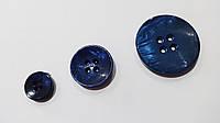 Пуговица кругл.  4д №20-0773  темн. синяя  (d=34 мм)