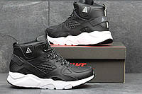 Мужские высокие кроссовки Найк Хуарачи, Nike Air Hurache Winter, черные с белым с мехом
