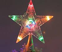 Новогодняя Верхушка для Елки Звезда с Подсветкой на Ель 15 см для Атмосферы Нового Года Рождества