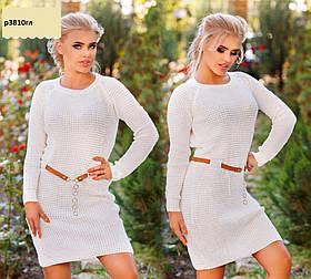Платье вязанное с поясом р3810гл