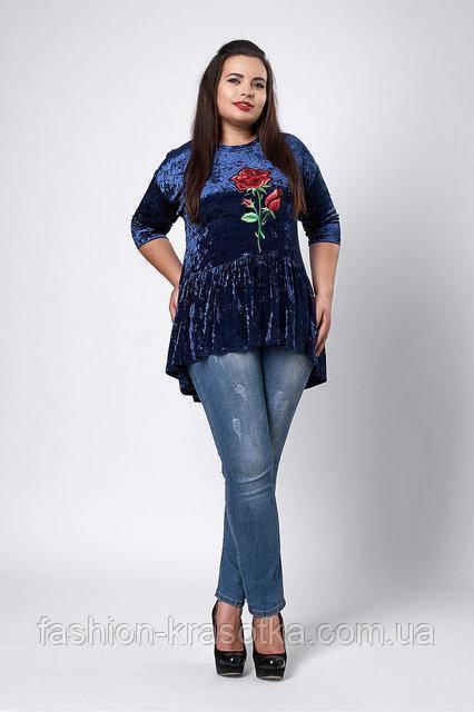 Молодёжная бархатная блуза полу прилегающего силуэта  цвета электрик 54-60
