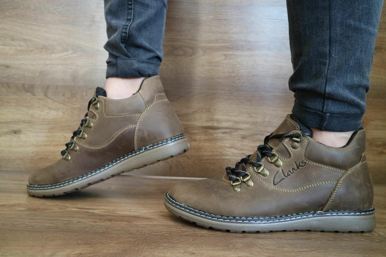 Мужские зимние ботинки Clarks (оливка), ТОП-реплика