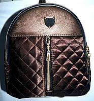 Женский стеганный городской рюкзак Philip Plein с кожзам вставкой 23*24 каштановый