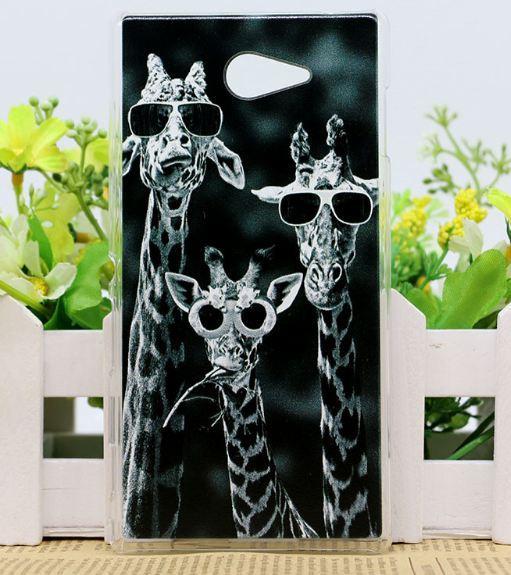 Силиконовый чехол бампер для Sony Xperia M2 S50H D2302 D2303 с рисунком Жирафы
