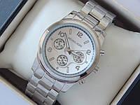 Кварцевые наручные часы копия Michael Kors серебро, три дополнительных циферблата, фото 1