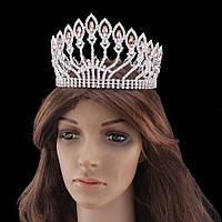 Круглая корона в серебре с золотистыми камнями, диадема, тиара, высота 10 см.