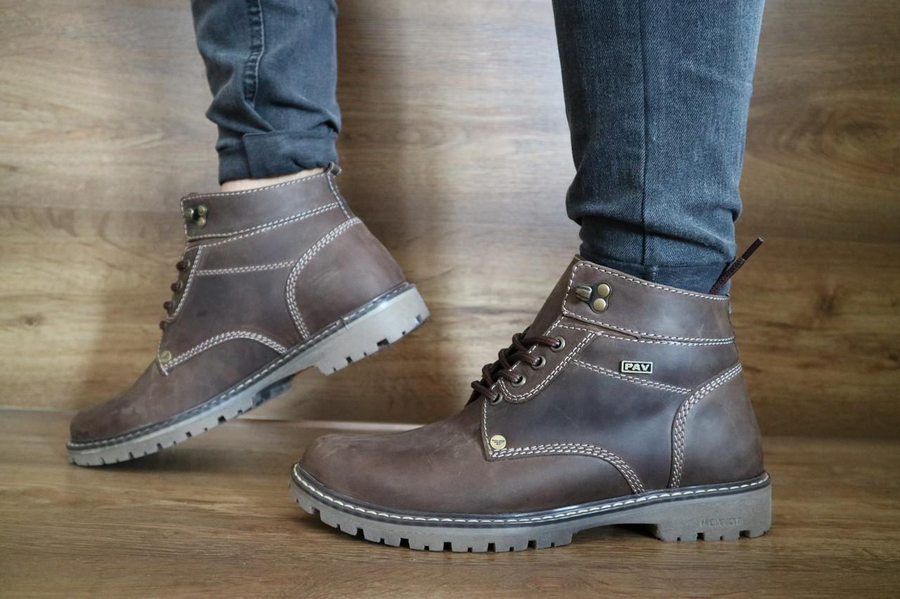 Мужские зимние ботинки PAV (коричневые), ТОП-реплика