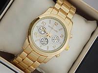 Кварцевые наручные часы Michael Kors золотые с белым циферблатом