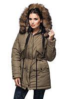 Женская зимняя куртка парка на холофайбере с мехом песца (размеры 44-56)