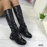Женские зимние сапоги MOSCHINO черные АВ-3059