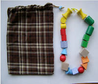 Волшебный мешочек (стереогностический) 20*30 см ,  10 пар  цветных фигурок