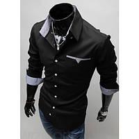 Стильная сорочка мужская (Черный)