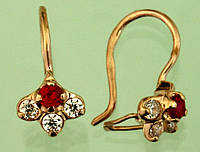 Золоті сережки з корундом та цирконом