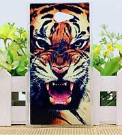 Силиконовый чехол бампер для Sony Xperia M2 S50H D2302 D2303 с рисунком Тигр