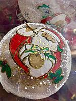 Новогоднее Интерьерное Украшение Игрушка Шарик Светодиодный Светящийся с Рисунком Дед Мороз 8 см Набор 3 шт
