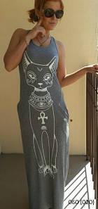 Платье длинное кошка 060.1 (040)