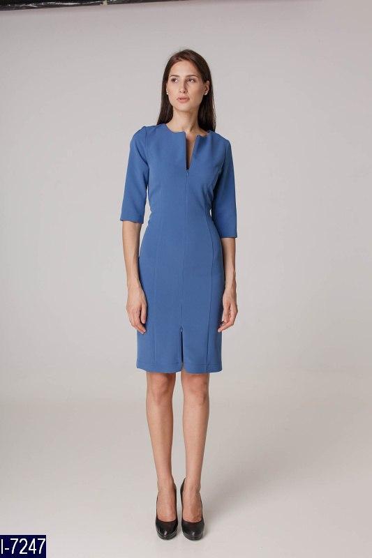 02764c03d34 Стильное голубое платье футляр. Креп-костюмка. Арт-12748