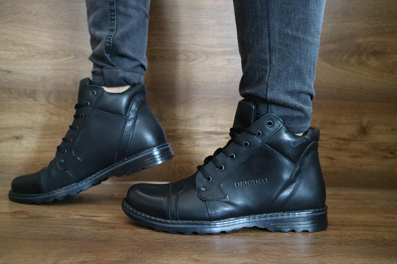 Мужские зимние ботинки Gras (черные), ТОП-реплика