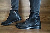 Мужские зимние ботинки Gras (черные), ТОП-реплика, фото 1