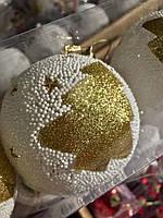 Новогоднее Интерьерное Украшение Игрушка Шарик Светодиодный Светящийся с Рисунком Елочка 8 см Набор 3 шт