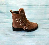 Женские ботинки демисезонные/зима замшевые бежевые 0111АЛМ