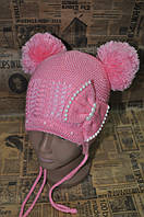 Детская шапка жемчуг + бантик. Розовый