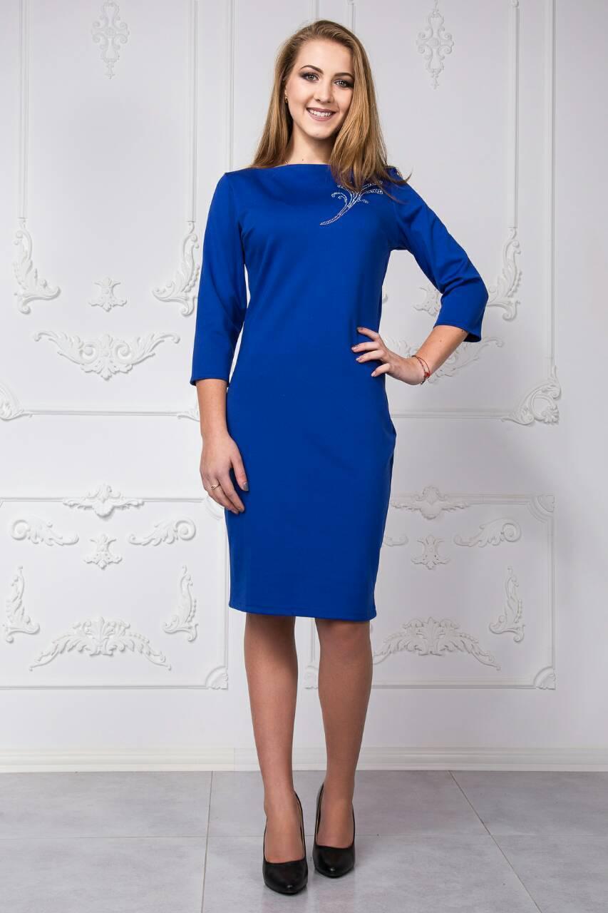 cc4c38af4a7 Недорогое трикотажное платье электрик размер 44