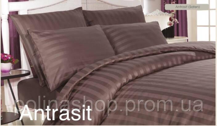"""Комплект постельного белья ALTINBASAK Сатин Deluxe """"Antrasit!"""" Евро"""