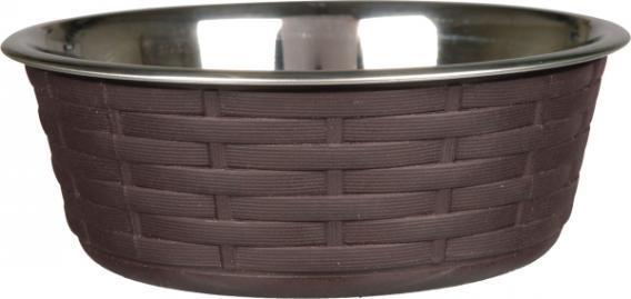 Trixiе (Трикси) Steel Bowl with Rattan - миска металлическая с покрытием из полиротанга для собак, 0.8л/ø16см