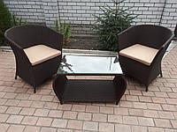 Комплект мебели с ротанга кофейный