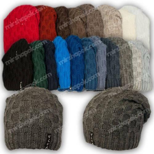 Вязаная шапка для девочки, р. 52-54, подкладка флис, 7081
